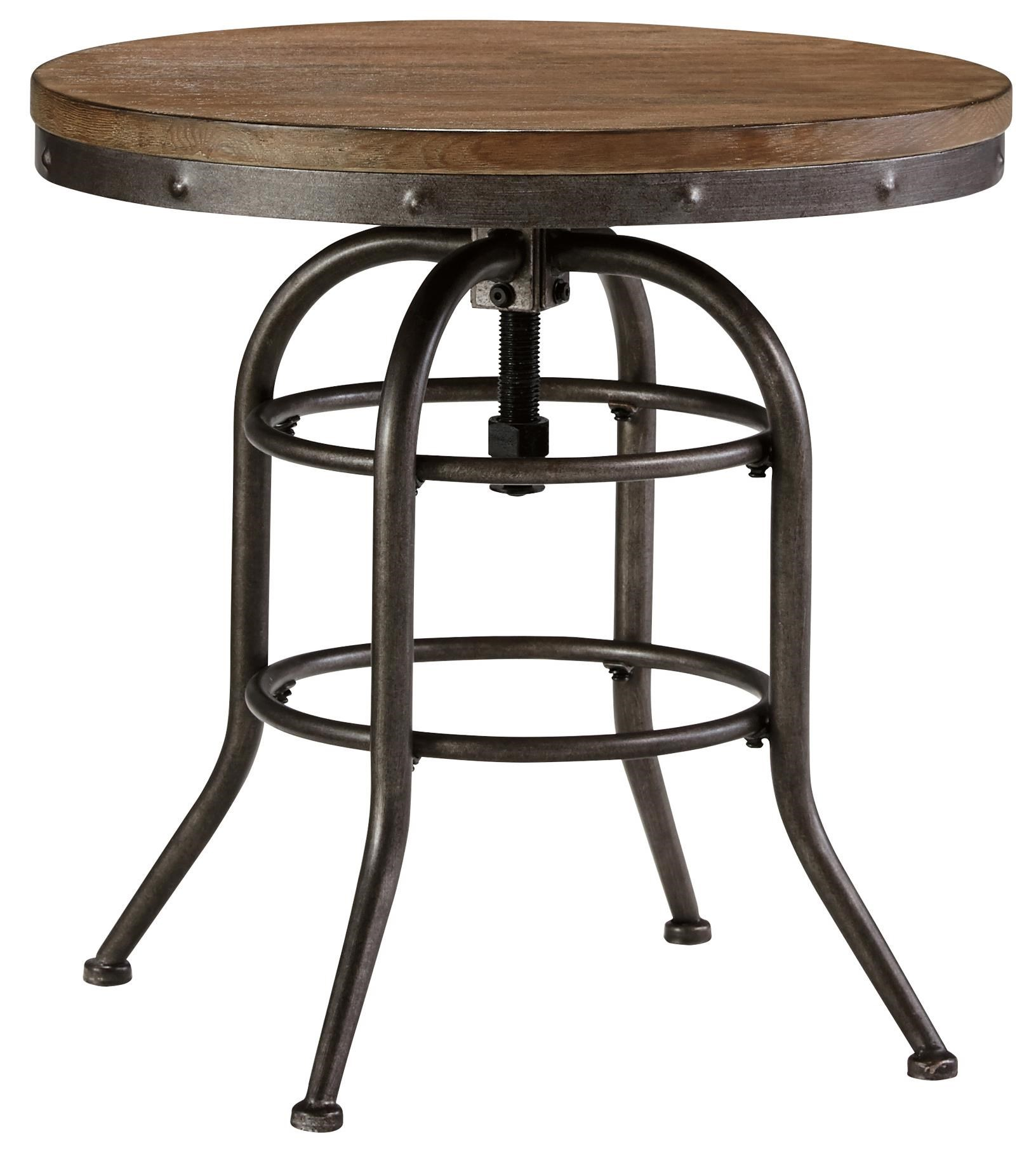 Signature Design By Ashley Vennilux Industrial Style Round End Table With  Adjustable Height