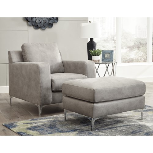 Signature Design by Ashley Ryler Contemporary Chair and Ottoman