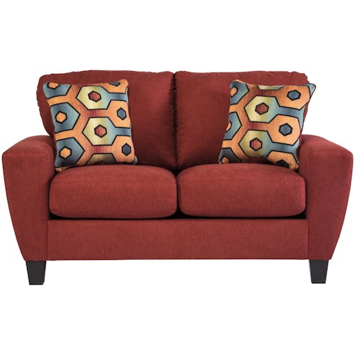Signature Design by Ashley Sagen Contemporary Loveseat with Shaped Track Arms