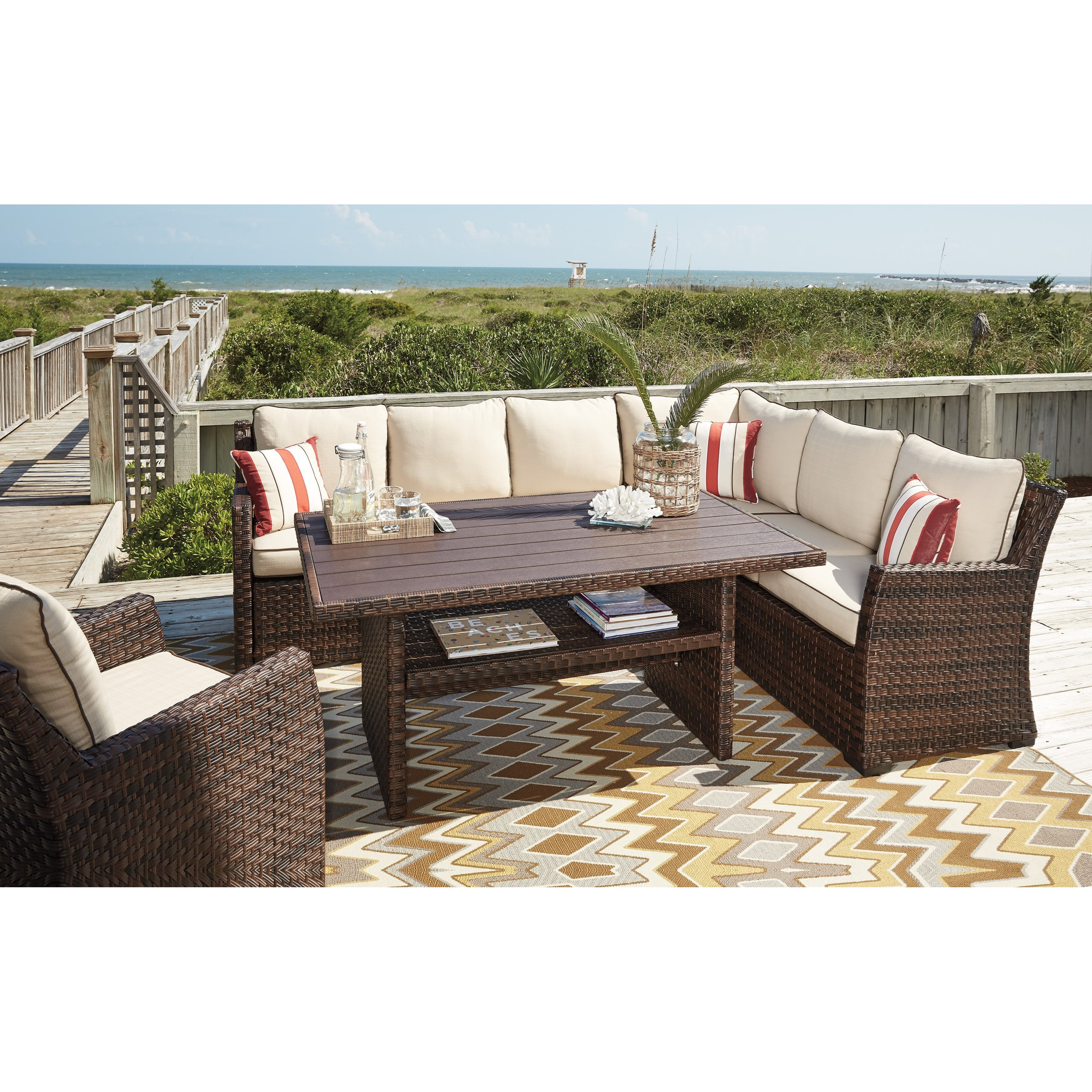 Genial Ashley (Signature Design) SalcedaOutdoor Sectional With Table U0026 Lounge Chair  ...
