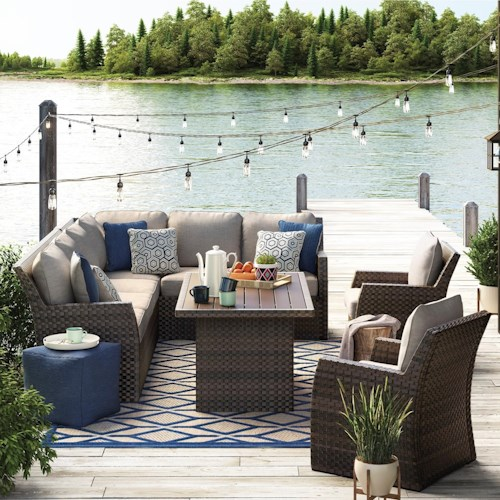 Signature Design by Ashley Salceda Outdoor Sectional with Table & Lounge  Chairs