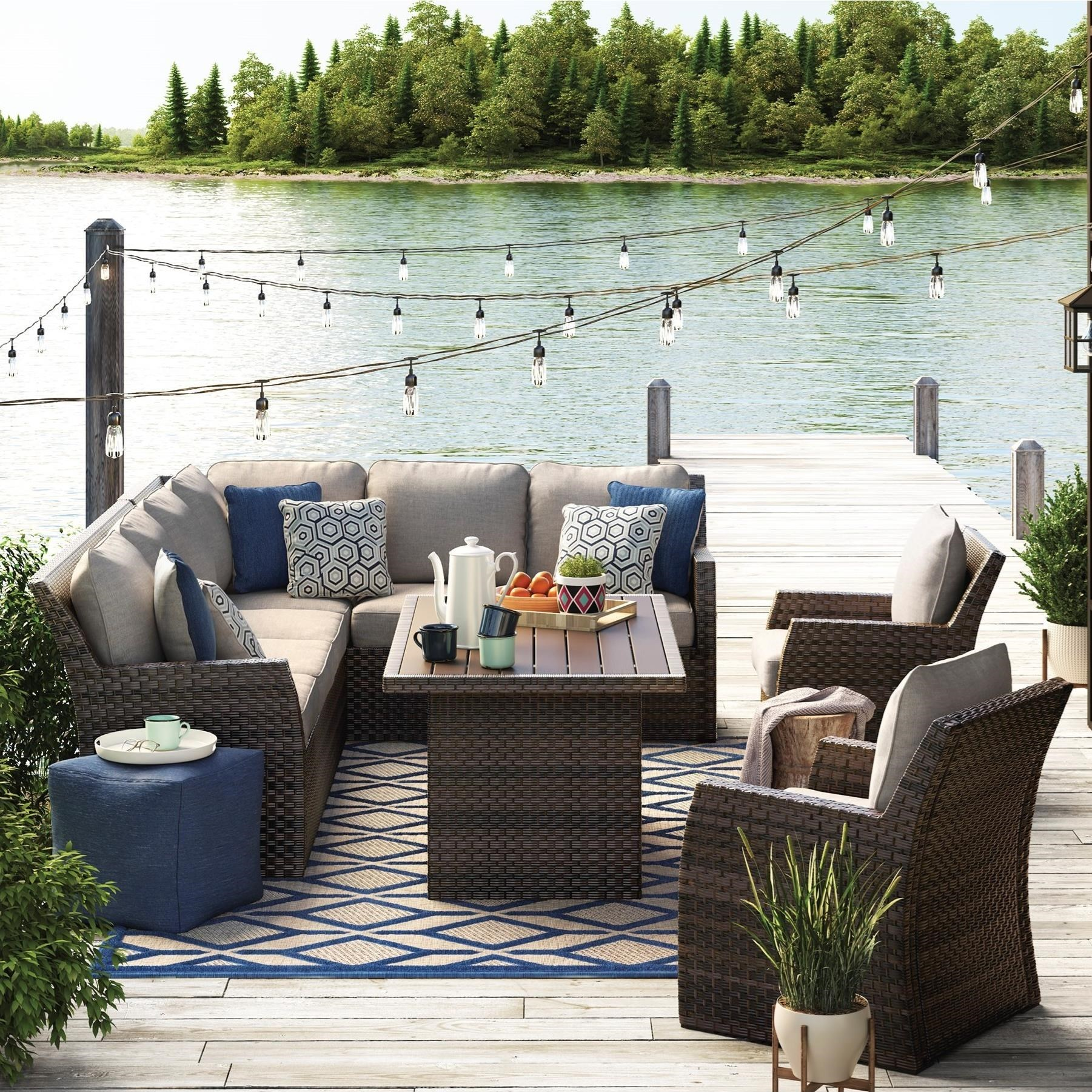 Signature Design By Ashley SalcedaOutdoor Sectional With Table U0026 Lounge  Chairs ...