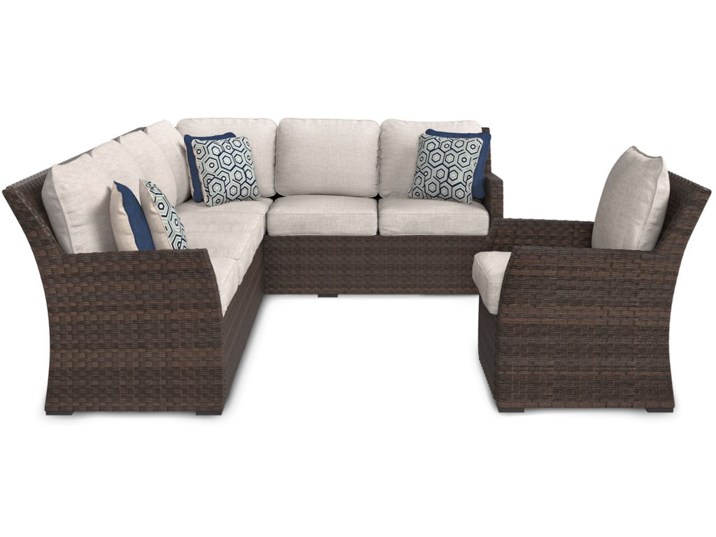 Ashley (Signature Design) SalcedaOutdoor Sectional with Table & Lounge Chairs
