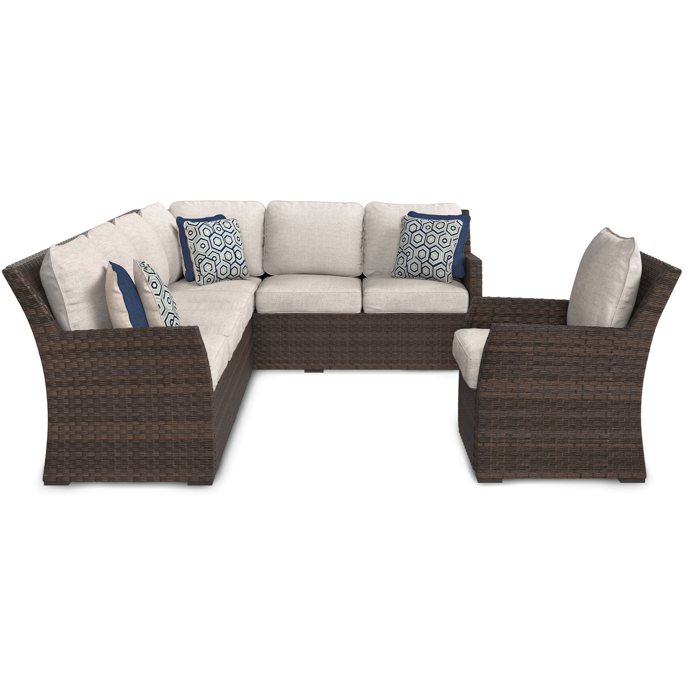 Signature Design By Ashley SalcedaOutdoor 2 Piece Sectional U0026 Lounge Chair  Set ...
