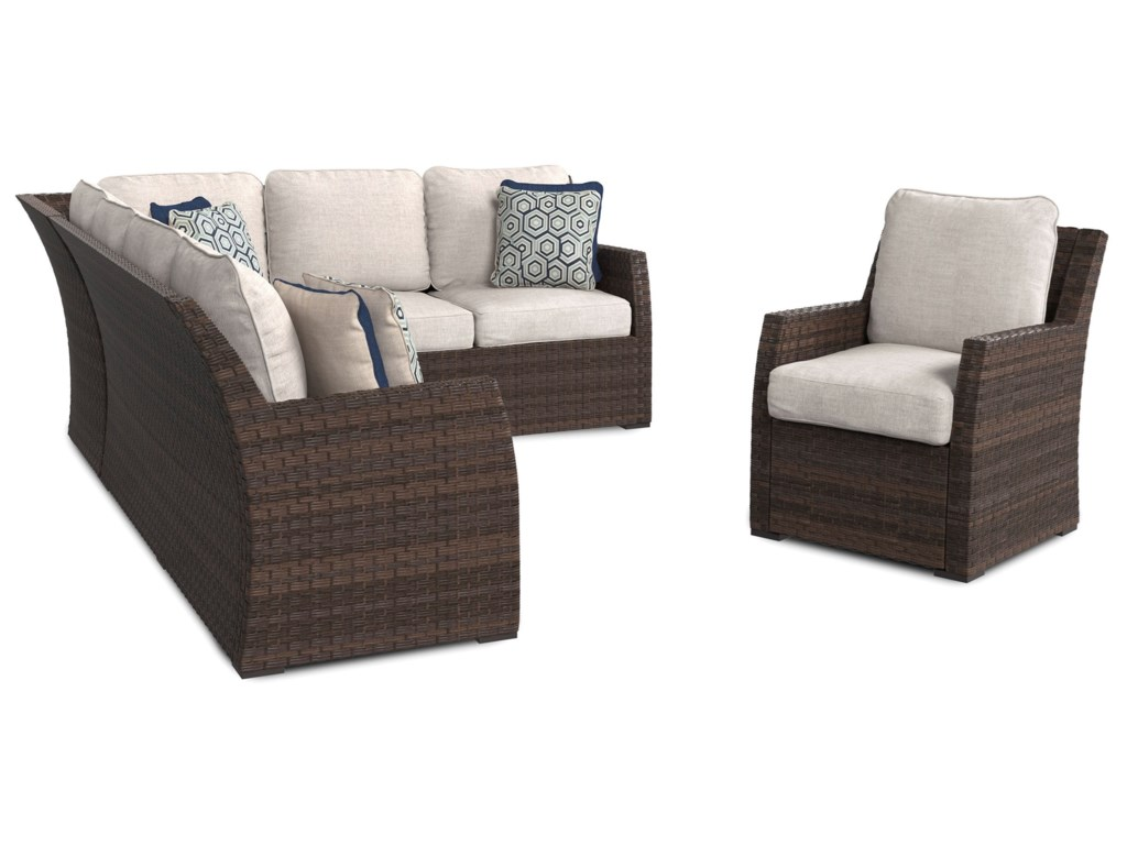 Signature Design by Ashley SalcedaOutdoor 2-Piece Sectional & Lounge Chair Set