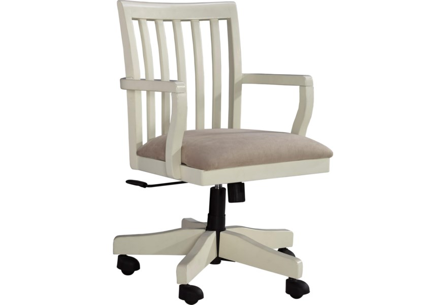 Ashley Furniture Signature Design Sarvanny H583 01a Solid Wood Home Office Desk Chair In Cream Finish Del Sol Furniture Office Task Chairs