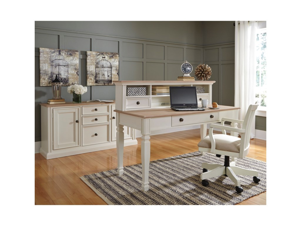 Signature Design By Ashley Sarvanny Solid Wood Home Office Desk - Cream desk chair