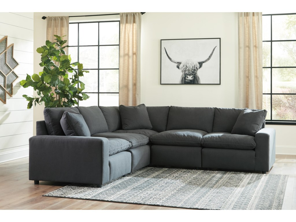 Signature Design by Ashley Savesto5 PC Modular Sectional and Ottoman Set