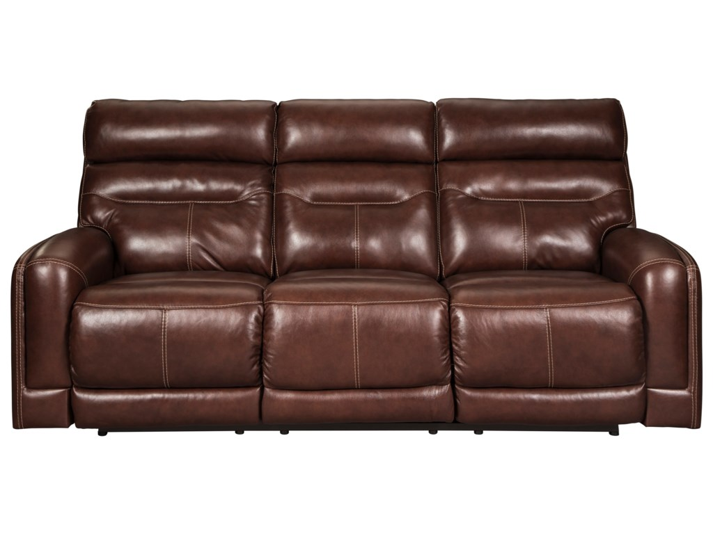 Signature Design by Ashley Sessom Leather Match Power Reclining Sofa ...