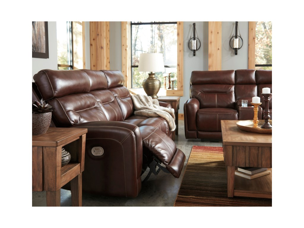 0bc356a70a ... Signature Design by Ashley SessomPower Reclining Sofa w/ Adjustable  Headrests ...