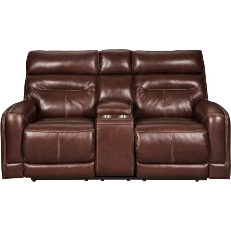 Power Reclining Loveseat w/ Cnsl & Adj Hdrst