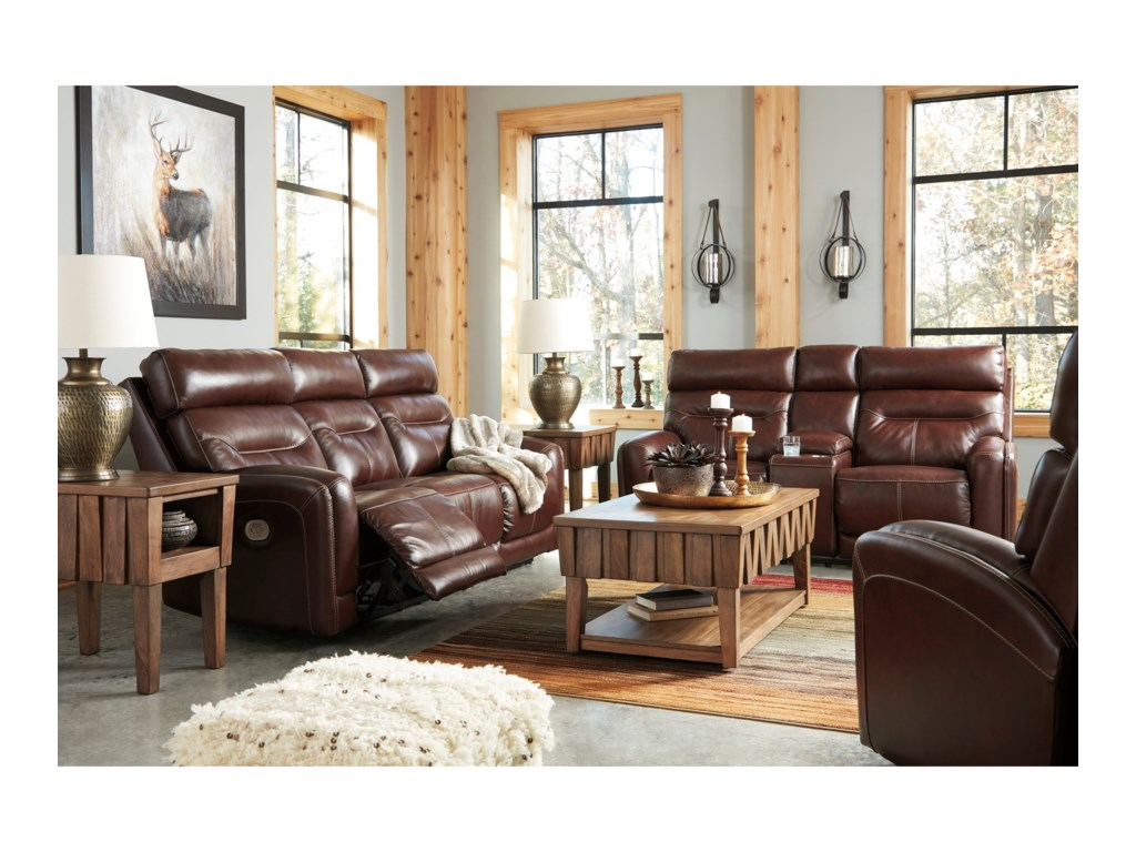 Signature Design by Ashley SessomPower Reclining Loveseat w/ Cnsl & Adj Hdrst