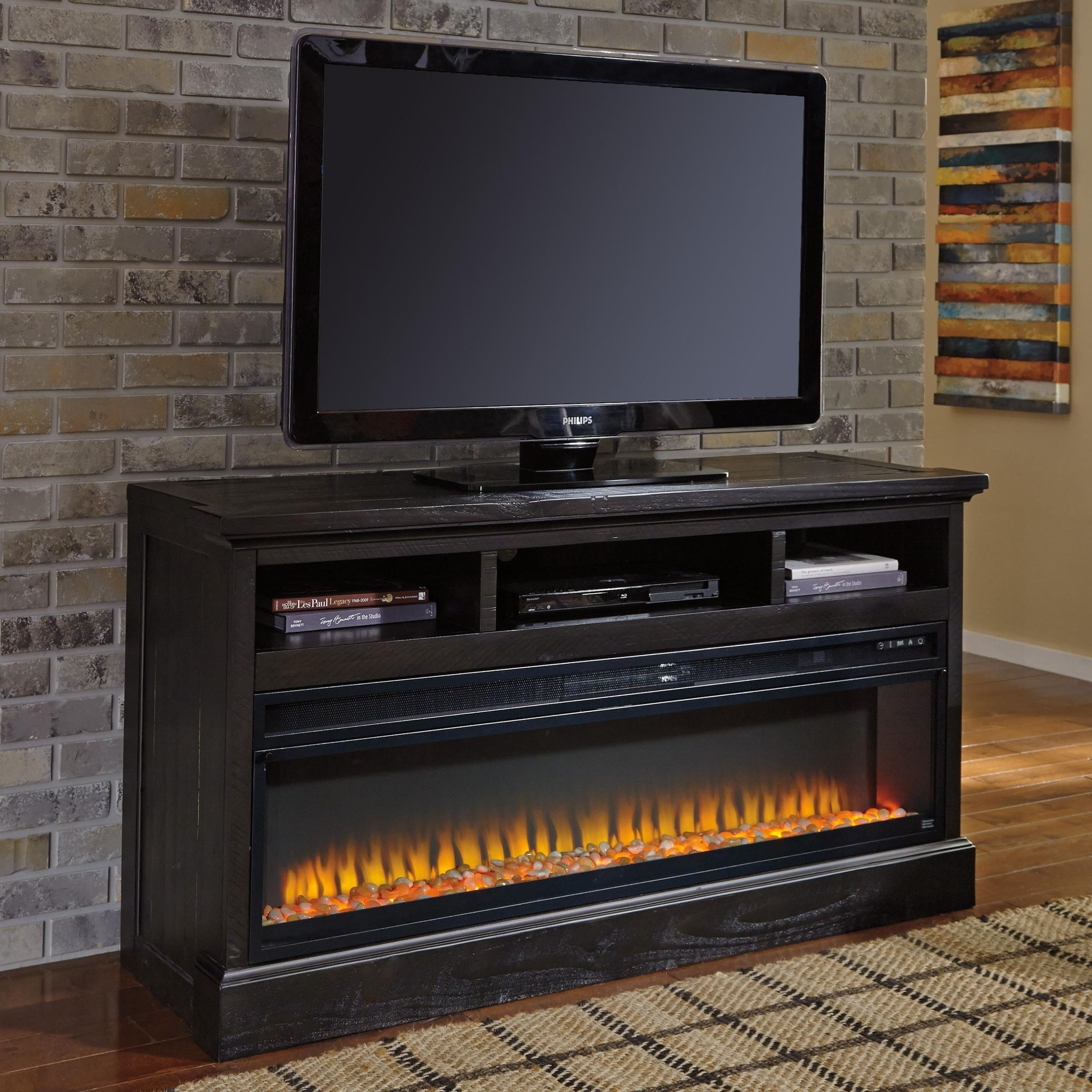 signature design by ashley sharlowe large tv stand with wide rh wayside furniture com diy tv stand with fireplace insert tv stand fireplace insert replacement