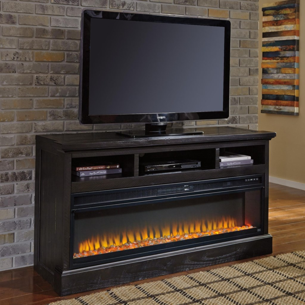 Ashley Signature Design Sharlowe Large Tv Stand With Wide Fireplace