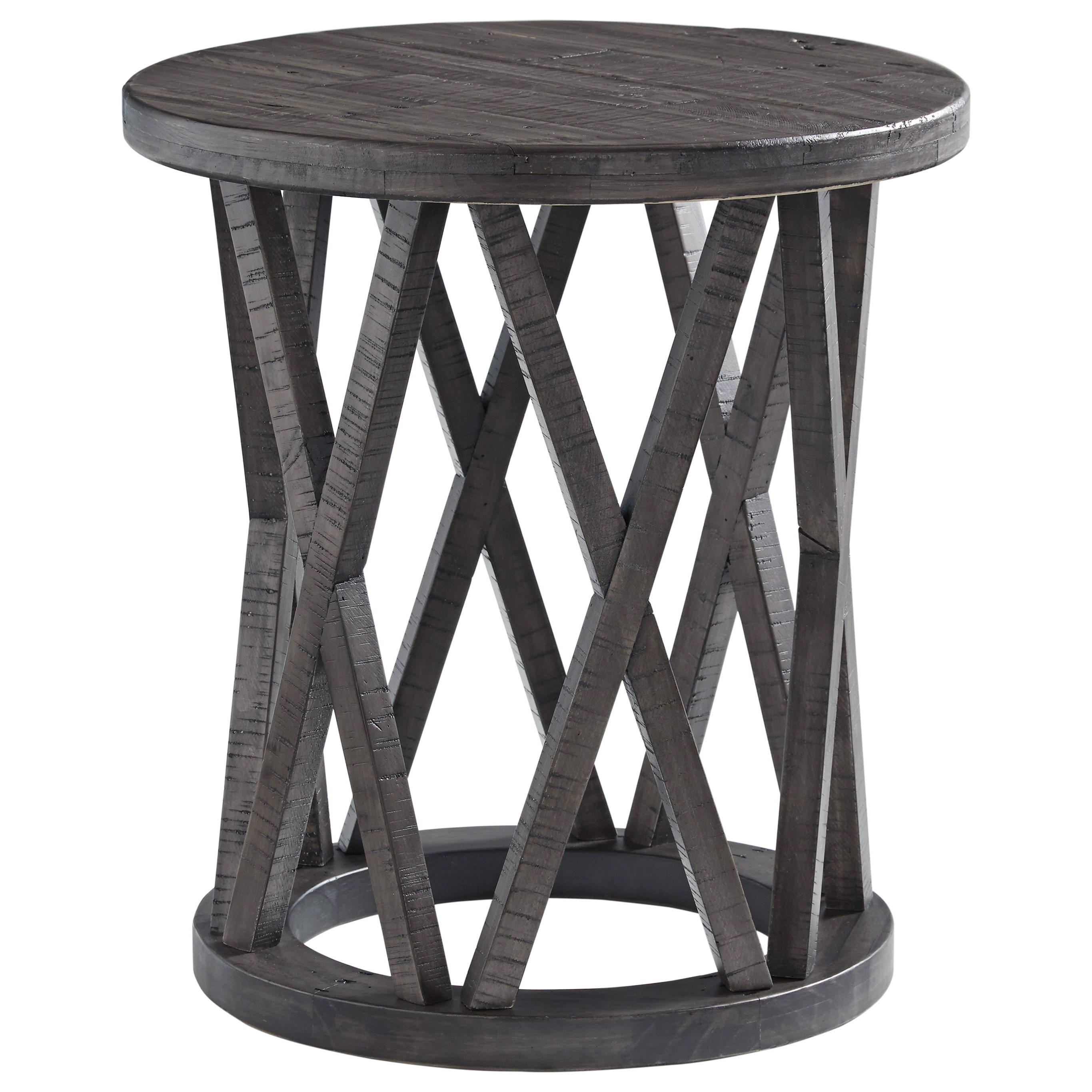Picture of: Signature Design By Ashley Sharzane Round End Table With Distressed Finish Royal Furniture End Tables