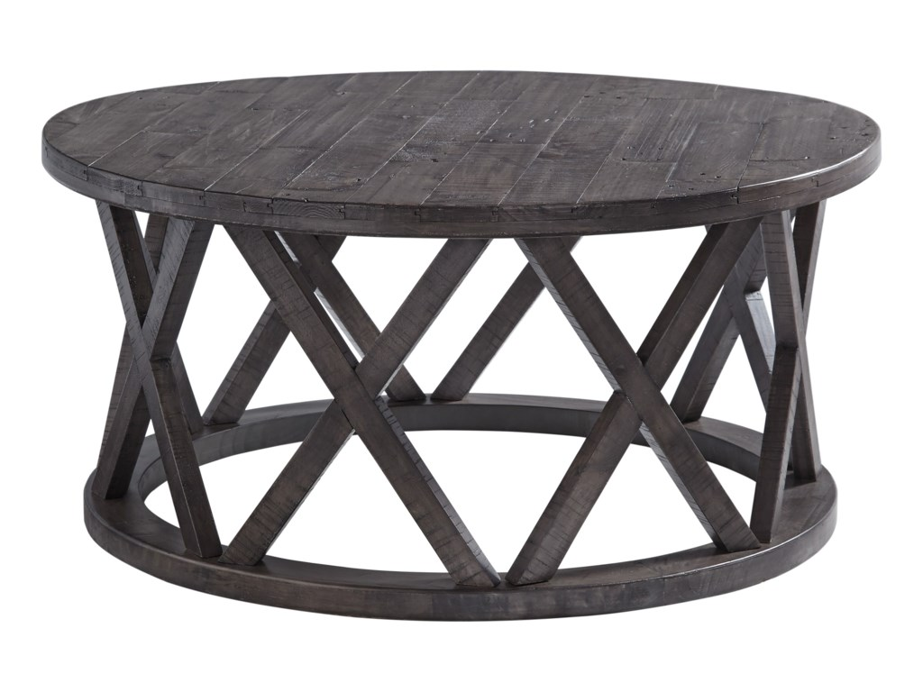 Signature Design By Ashley Sharzane T Round Cocktail Table With - Ashley veldar coffee table