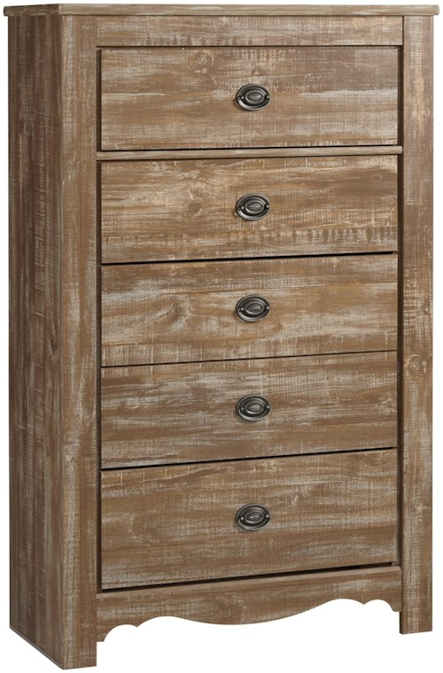 Signature Design by Ashley Shellington Relaxed Vintage 5 Drawer Chest
