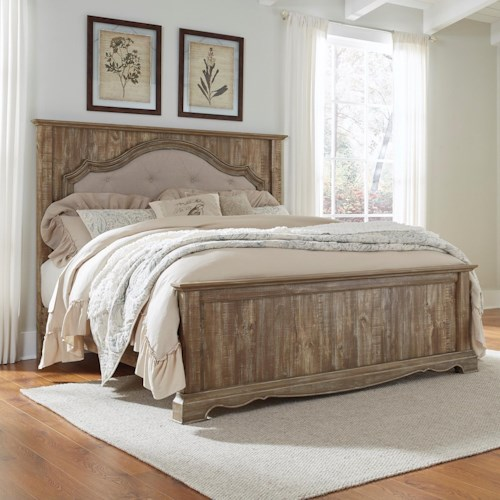 Signature Design by Ashley Shellington King Panel Bed with Upholstered Headboard