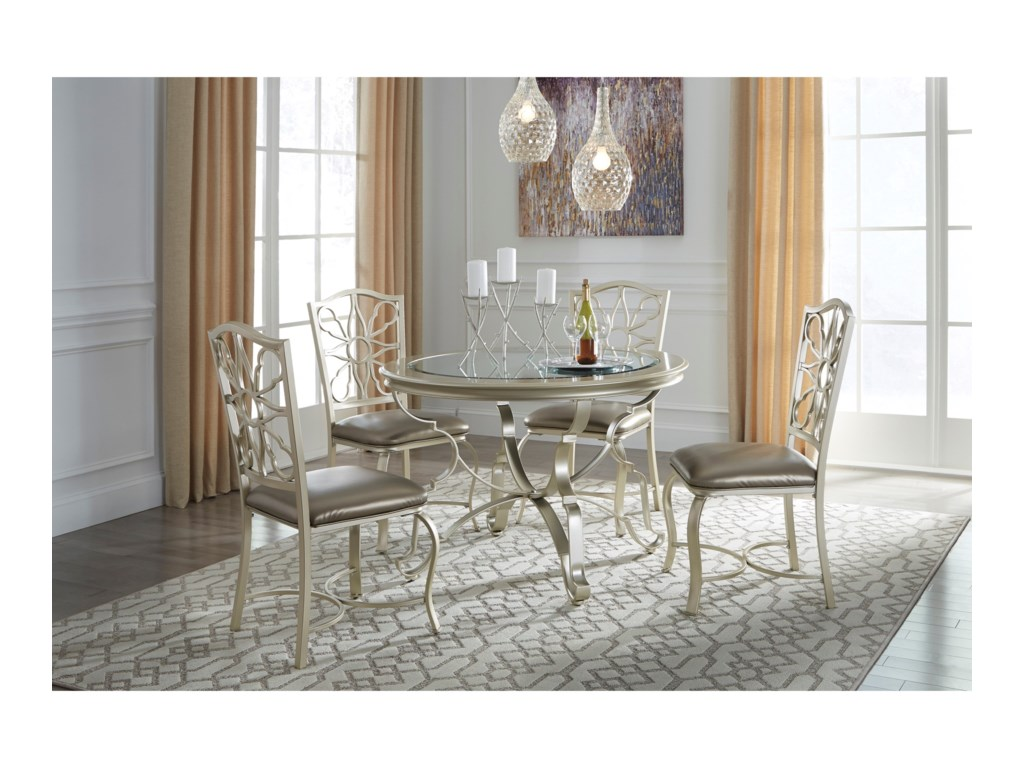 kitchen table and chairs Signature Design by Ashley Shollyn 5 Piece Dining Table Set in Silver Finish Household Furniture Dining 5 Piece Sets
