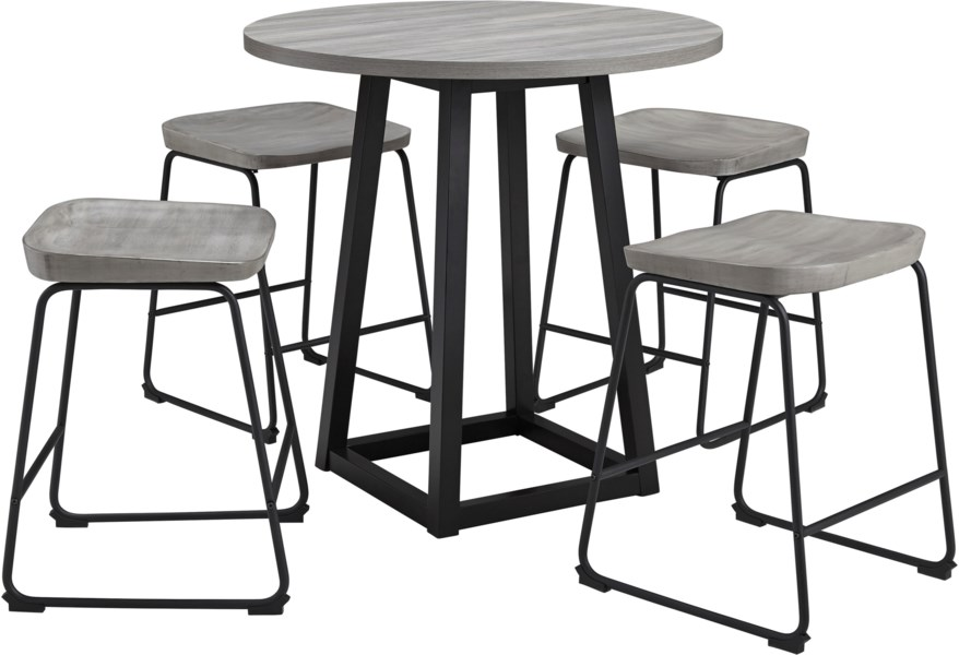 Styleline Showdell 5 Piece Counter Height Dining Table Set Efo Furniture Outlet Pub Table And Stool Sets