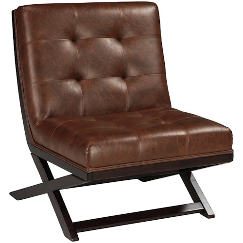 Signature Design by Ashley Sidewinder Wood X-Base Armless Accent Chair with Brown Faux Leather