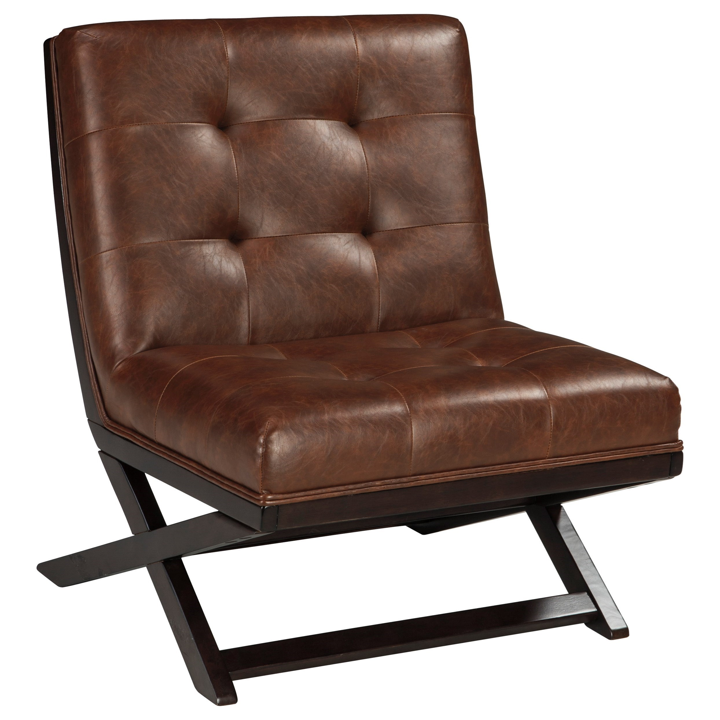 Attirant Signature Design By Ashley Sidewinder Wood X Base Armless Accent Chair With  Brown Faux Leather