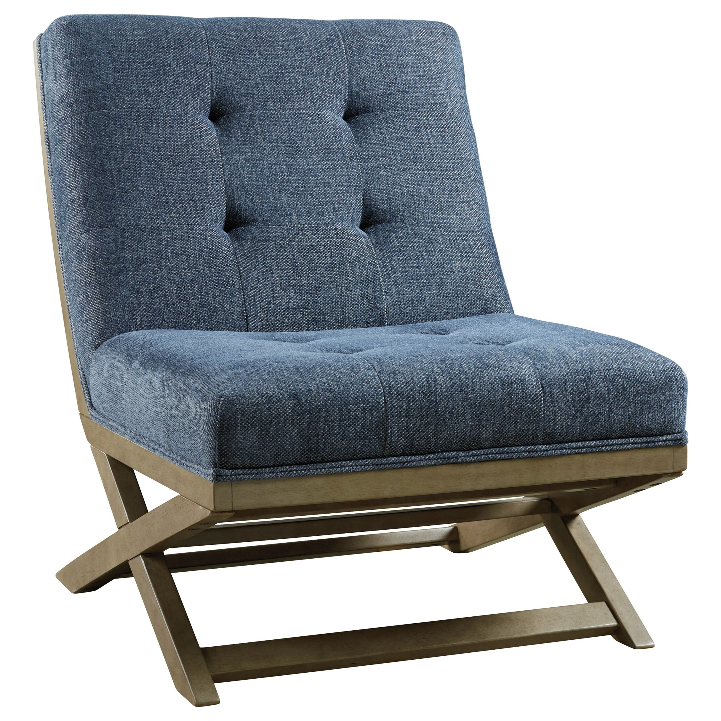 Wood X-Base Armless Accent Chair with Fabric Upholstery