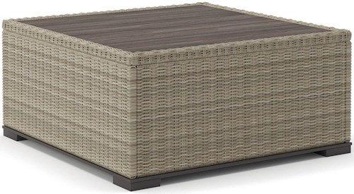Signature Design by Ashley Silent Brook Square Resin Wicker Cocktail Table