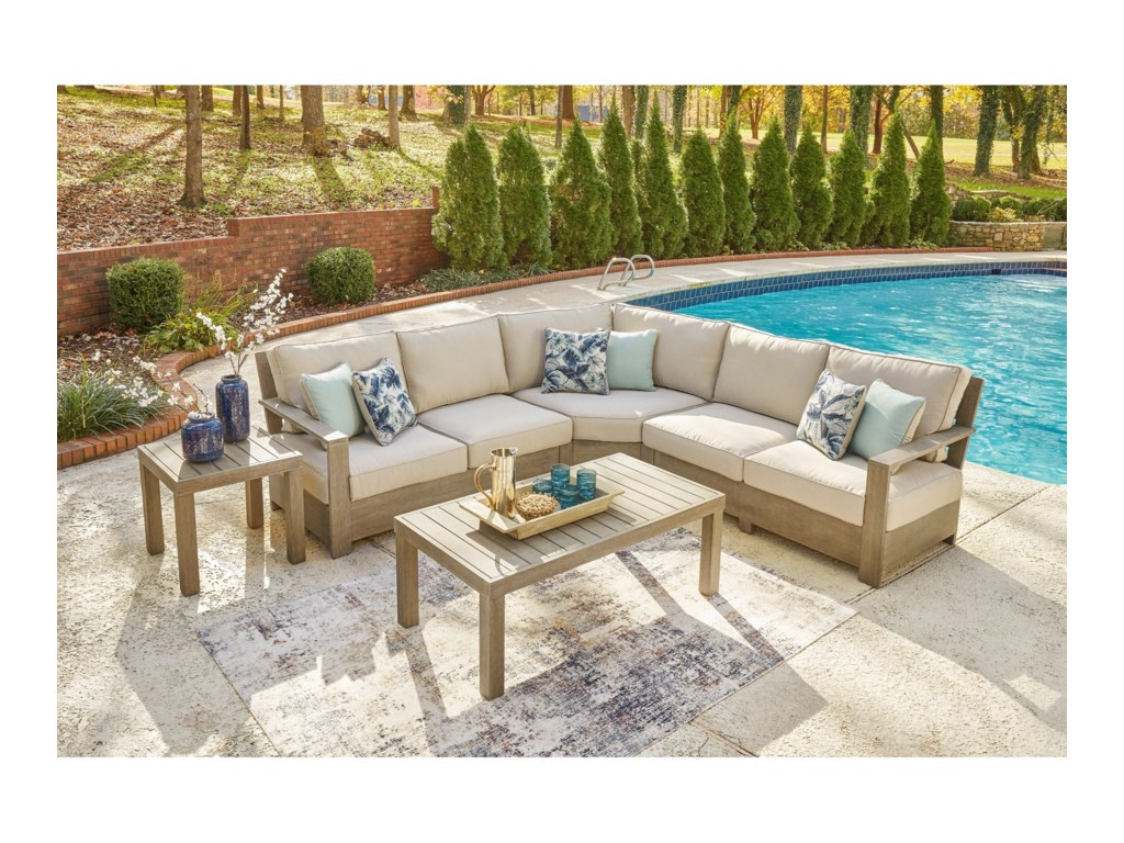 Signature Design by Ashley Silo PointOutdoor Sectional Set with Tables