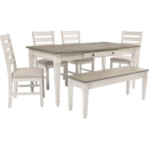 Ashley Signature Design Skempton Rect Dining Table Set W Storage Bench Rooms And Rest Table Chair Set With Bench