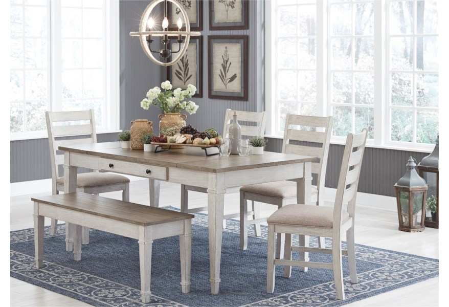Signature Design By Ashley Skempton D394 25 4x01 00 Rect Dining Table Set W Storage Bench Household Furniture Table Chair Set With Bench