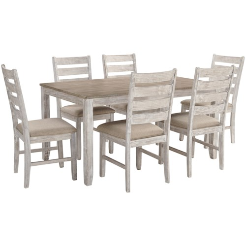 Signature Design by Ashley Skempton Two-Tone 7-Piece Dining Set with Two-Tone Finish