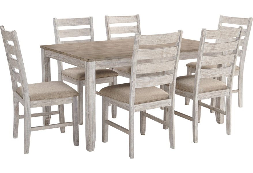 Ashley Signature Design Skempton Two Tone 7 Piece Dining Set With Two Tone Finish Johnny Janosik Dining 7 Or More Piece Sets