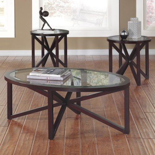 Signature Design by Ashley Sleffine Contemporary 3-Piece Occasional Table Set