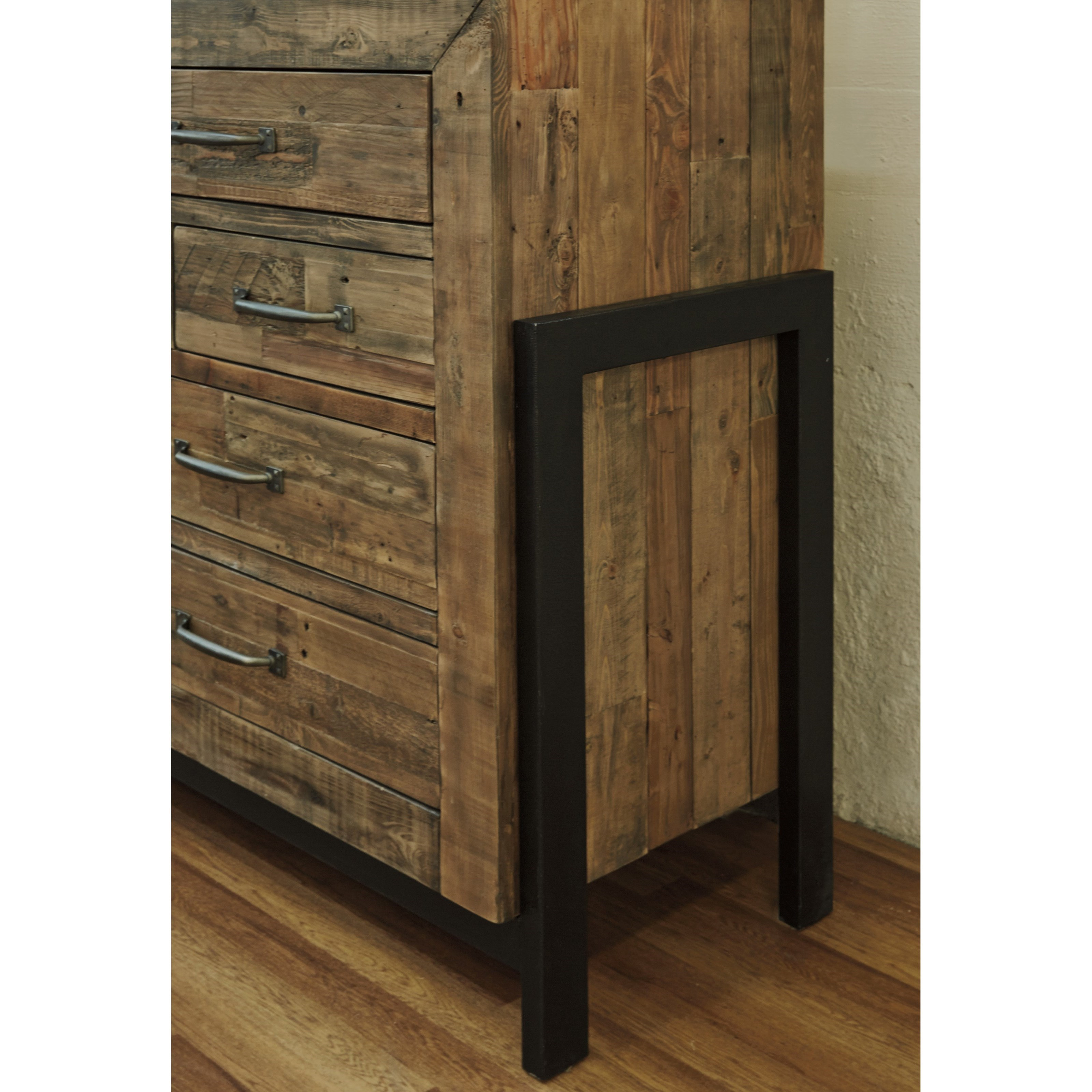 sommerford b77531 reclaimed pine solid wood dresser with metal frame by signature design by ashley