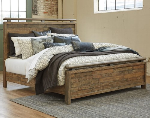 Signature Design by Ashley Sommerford California King Panel Bed Made with Reclaimed Pine Solid Wood
