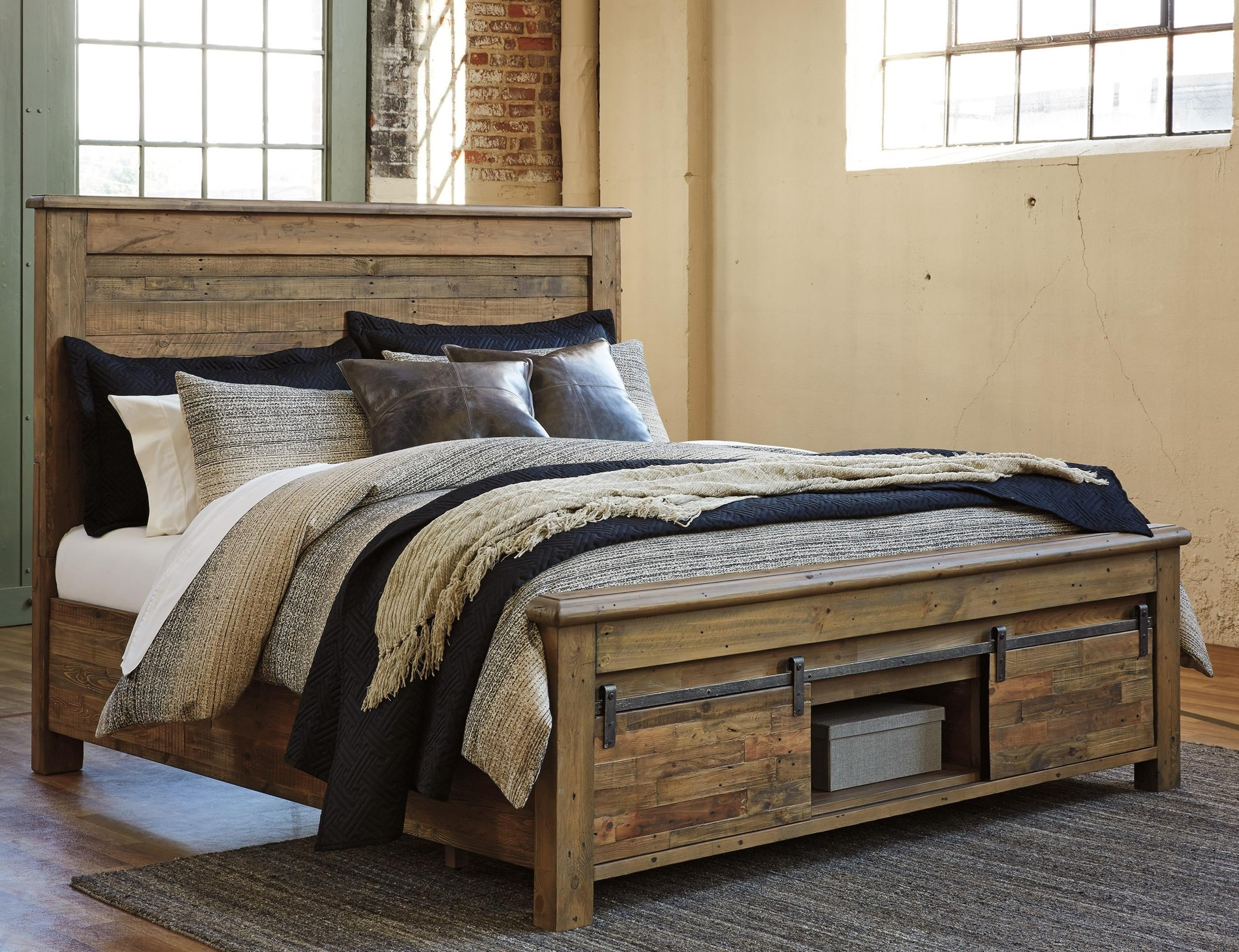 Signature Design By Ashley Sommerford Queen Panel Storage Bed With Barn Doors Wayside Furniture Platform Beds Low Profile Beds