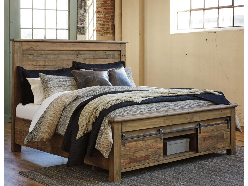 Signature design by ashley sommerford king panel storage bed with barn doors