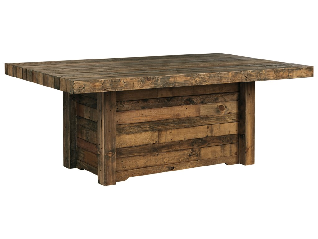Signature Design By Ashley Sommerford Solid Wood Reclaimed Pine Rectangular Dining Room Table