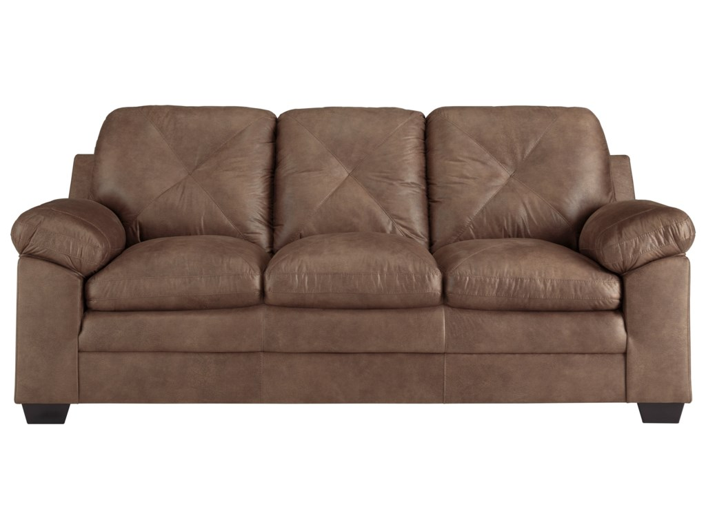 Speyer Faux Leather Sofa with X-Back Stitching by Signature Design by  Ashley at Household Furniture