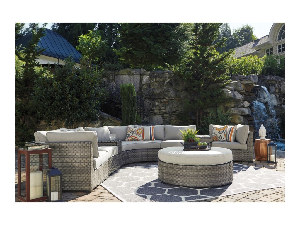 Signature Design by Ashley Spring Dew8-Piece Outdoor Sectional Group