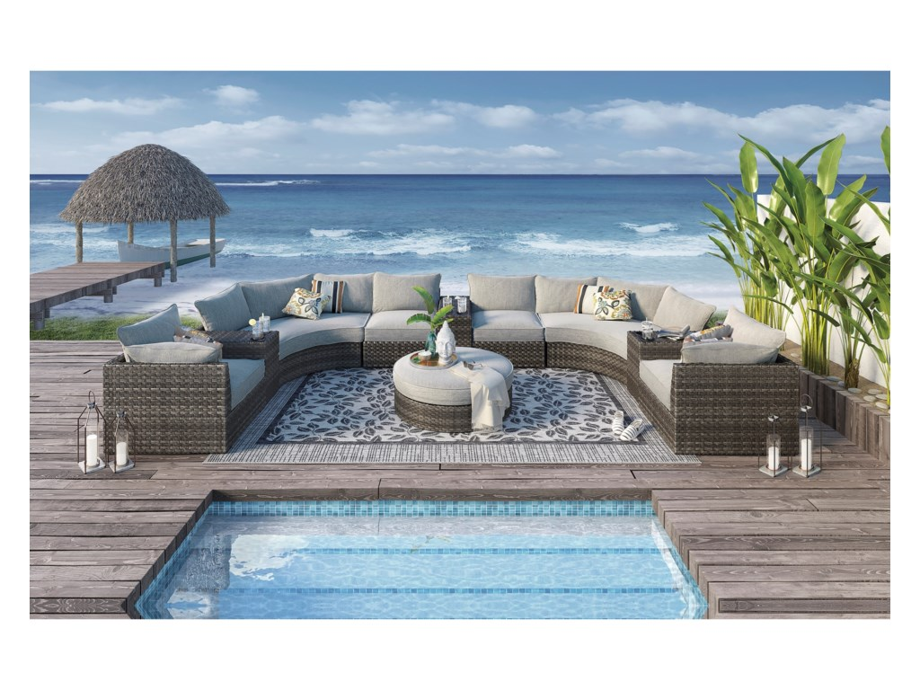Signature Design by Ashley Spring DewOutdoor Sectional Sofa Group