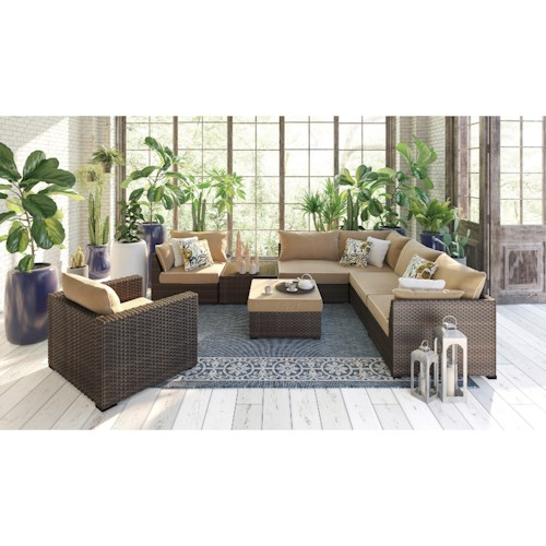 Signature Design by Ashley Spring Ridge 8 Piece Outdoor Conversation Set