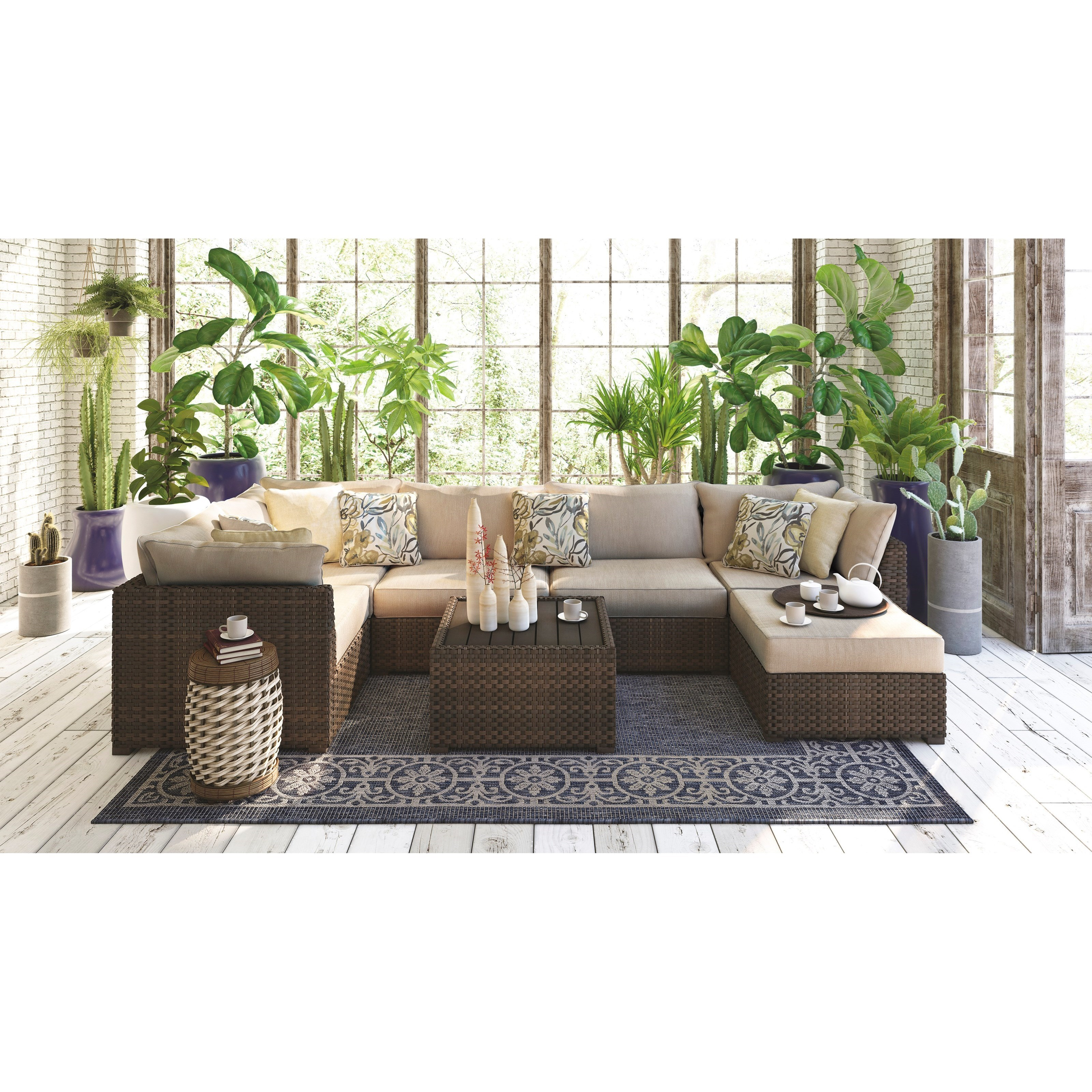 Beau Signature Design By Ashley Spring Ridge 7 Piece Outdoor Conversation Set