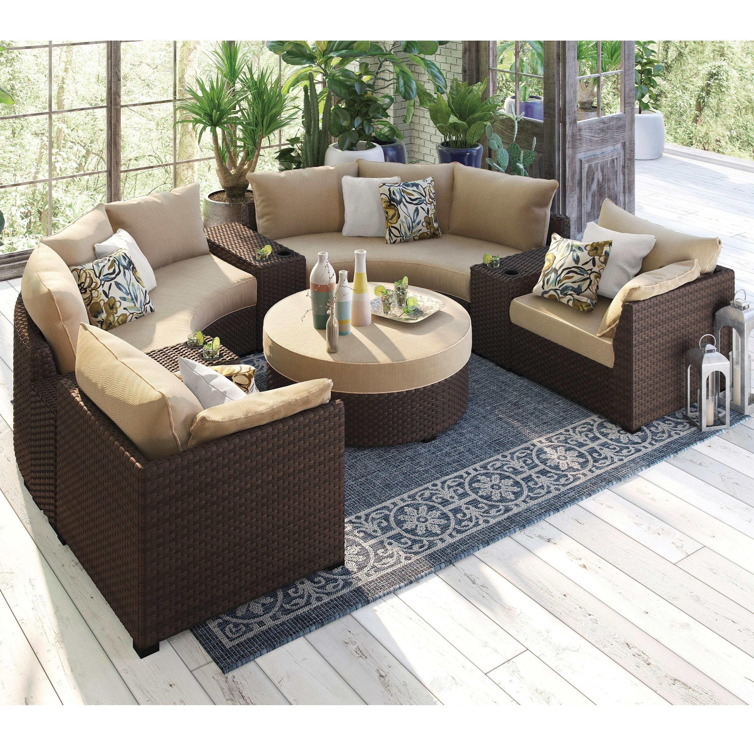 Spring Ridge 8 Piece Outdoor Conversation Set By Signature Design By Ashley
