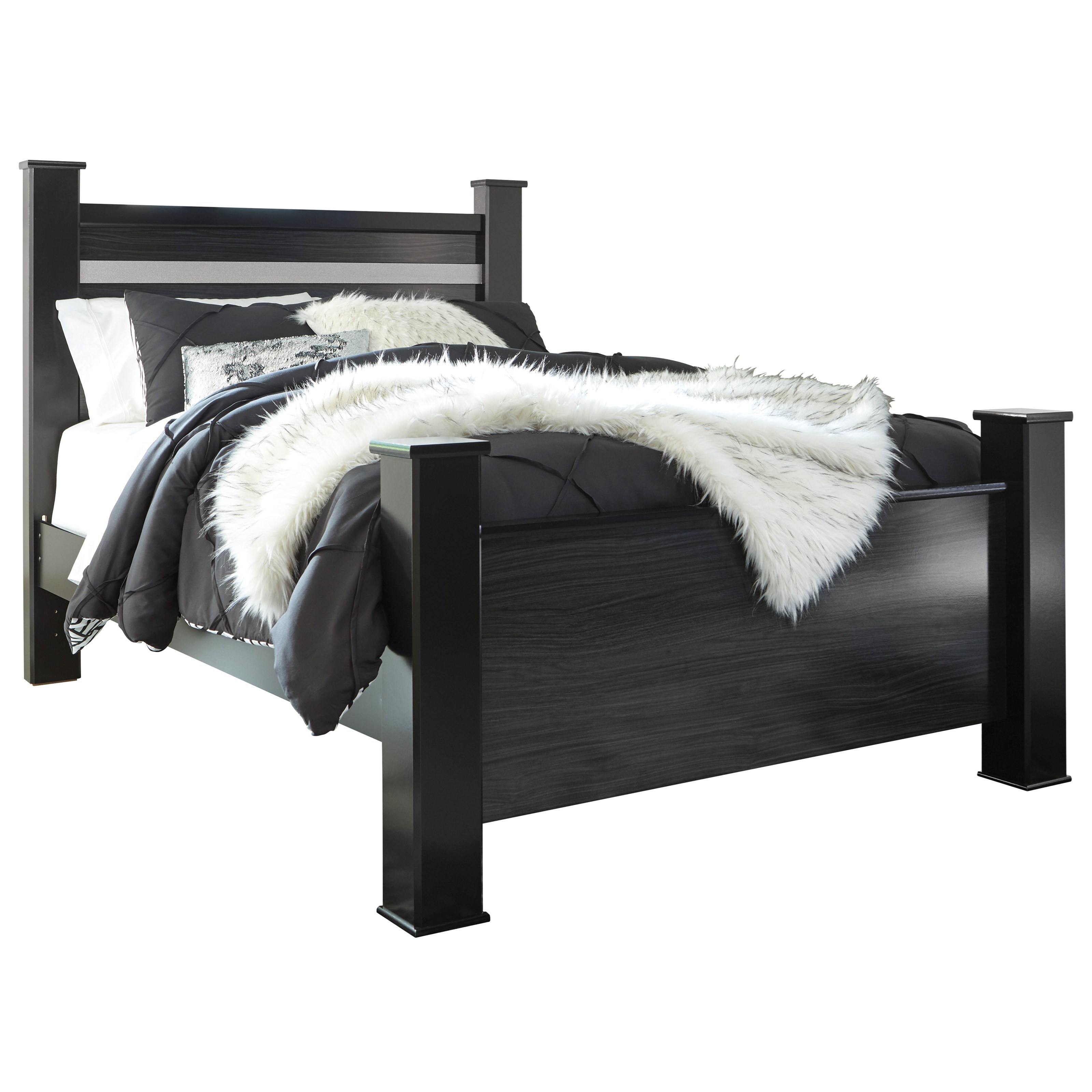 Picture of: Signature Design By Ashley Starberry Black Finish Queen Poster Bed With Glitter Accent Panel Royal Furniture Panel Beds