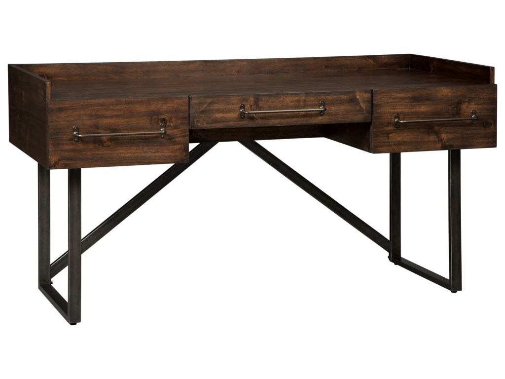 Signature design by ashley starmore h633 27 modern rustic industrial home office desk with steel base gill brothers furniture table desk