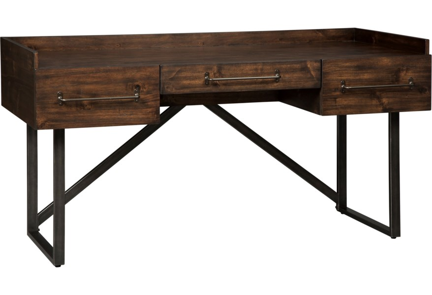 Starmore Modern Rustic Home Office Desk With Steel Base By Ashley Signature Design At Dunk Bright Furniture