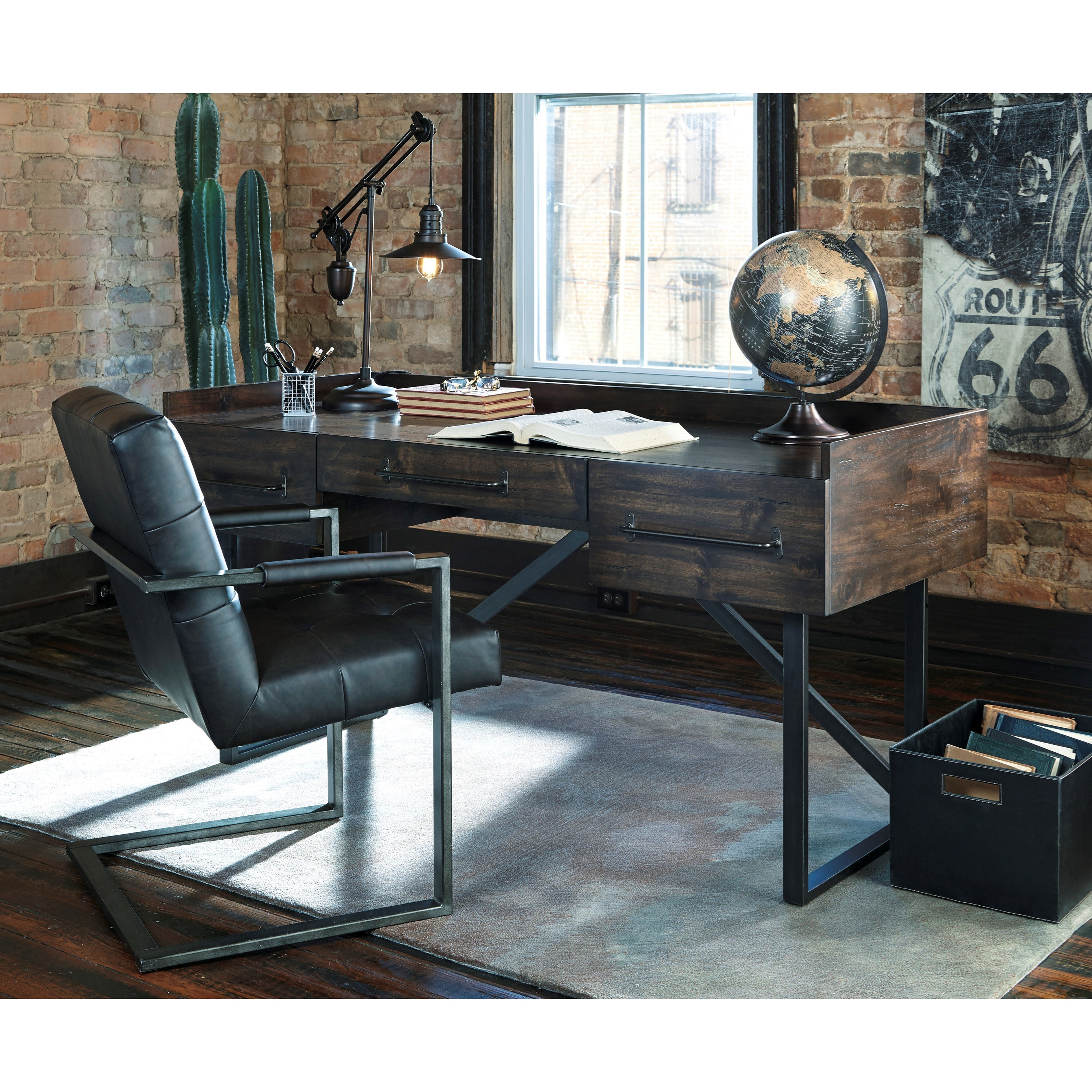 rustic desk home office. Signature Design By Ashley Starmore Modern Rustic/Industrial Home Office Desk With Steel Base Rustic