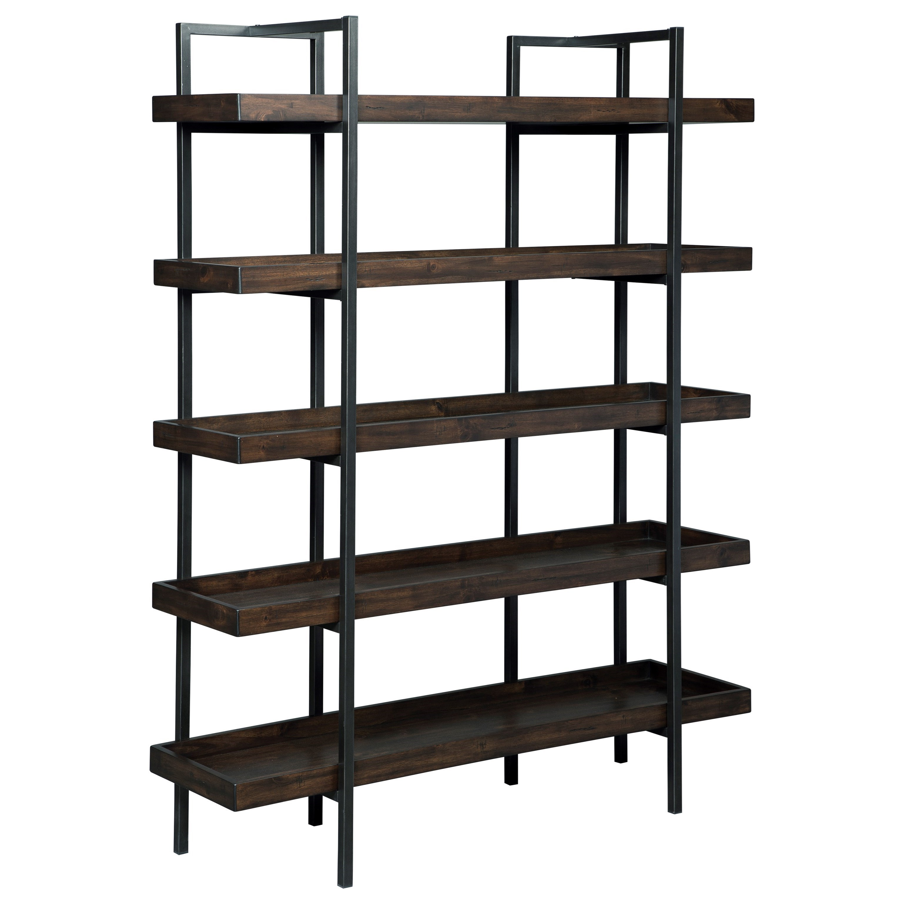 Signature Design By Ashley Starmore Modern Rustic/Industrial Bookcase With  5 Shelves   Becker Furniture World   Open Bookcases